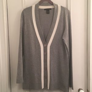 "Grey & white ""varsity"" style rayon/nylon cardigan"